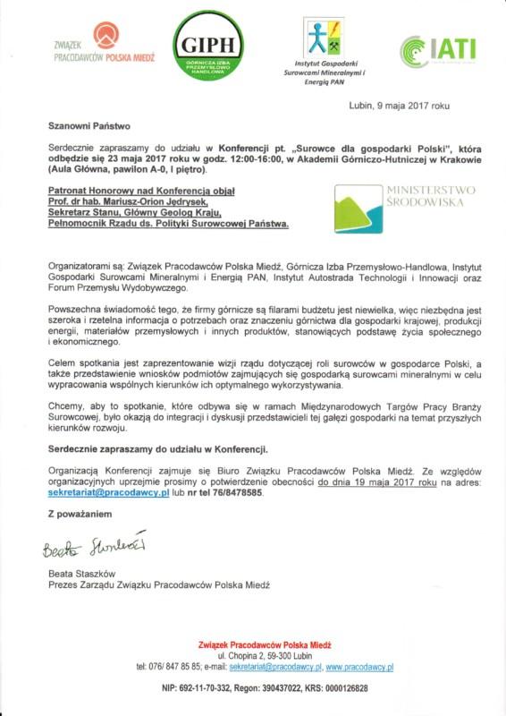 Konferencja Pt Surowce Dla Gospodarki Polski Zaproszenie
